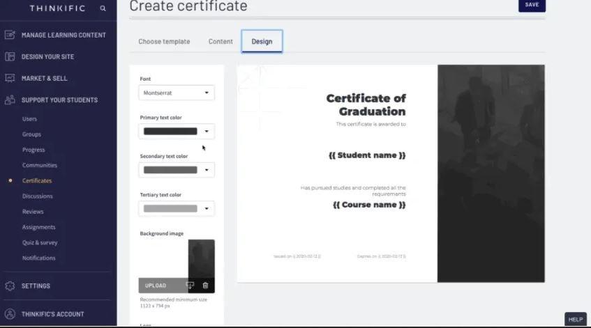 Certificat d'achèvement de cours Thinkific