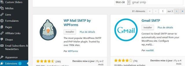 Installez et activez le plugin Gmail SMTP