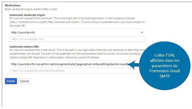 URL de redirection autorisées