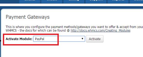 Activation du module de paiement paypal dans WHMCS