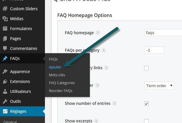 ajouter une nouvelle section pour FAQ dans Wordpress