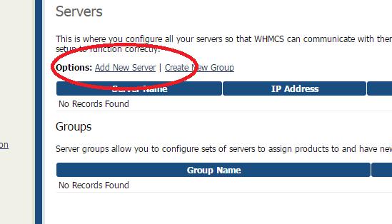 Ajouter un nouveau serveur dans WHMCS