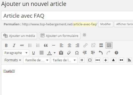 Ajouter un article contenant FAQ