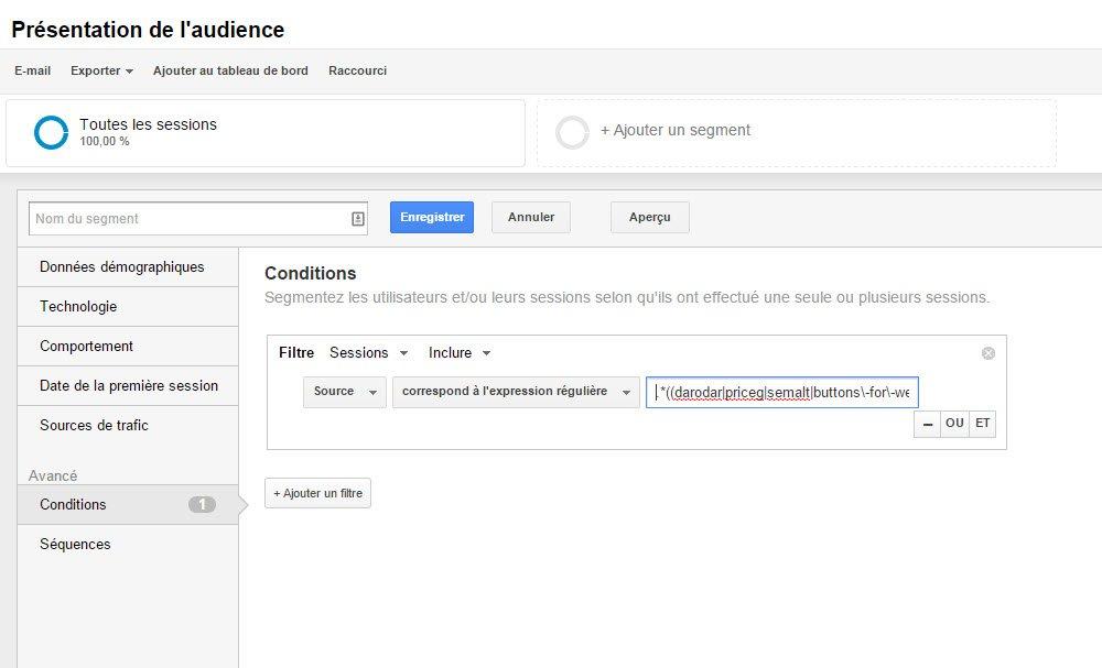 Filtre audience dans Google analytics