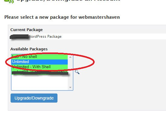 changer package whm