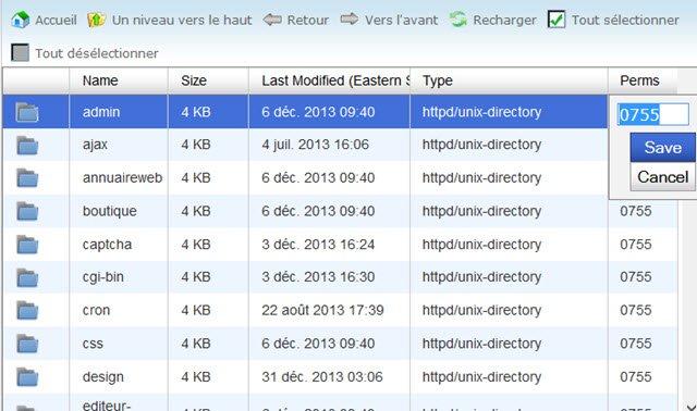 Comment changer les permissions chmod dans gestionnaire de fichier cpanel