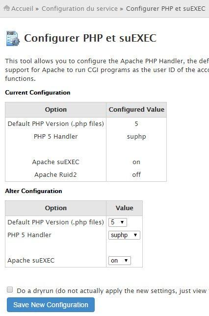 Comment configurer PHP SUEXEC partir de WHM