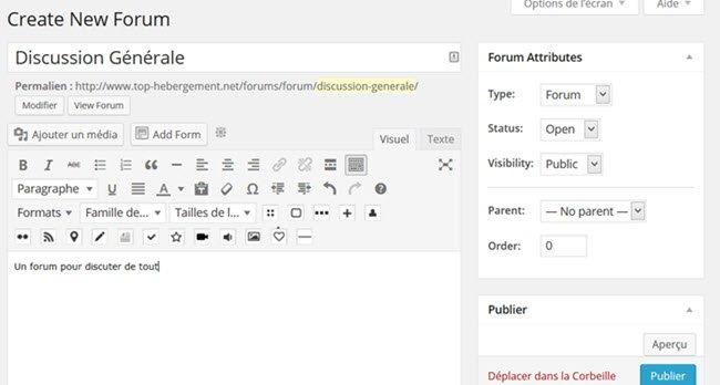 comment créer un nouveau forum bbpress dans wordpress