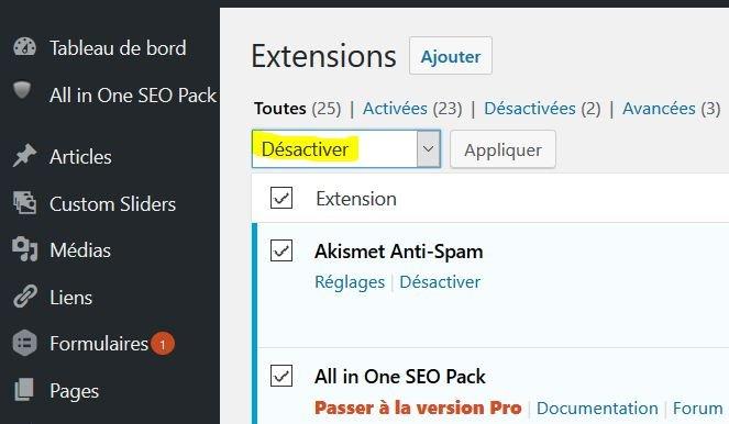 desactiver-plugin-wp