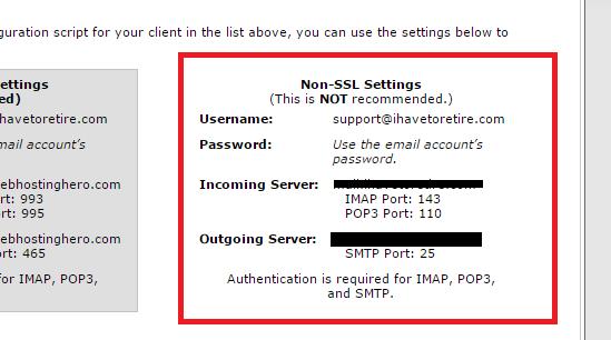 Détails SMTP non ssl