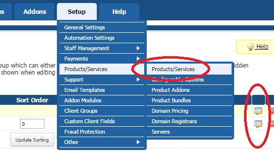 modifier un produit WHMCS existant