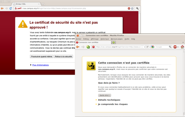 erreur de certificat ssl chrom et firefox