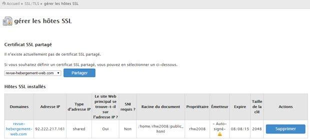 Supprimer un certicat SSL cpanel / whm