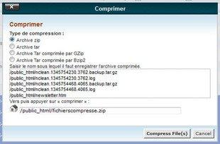 Comment compresser des fichier dans le gestionnaire de fichier dans cPanel