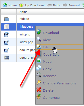 ouvrir et editer un fichier .htaccess