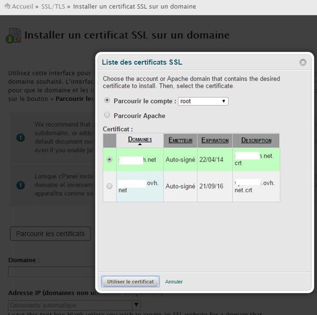 comment installer un certificat ssl sur un nom de domaine