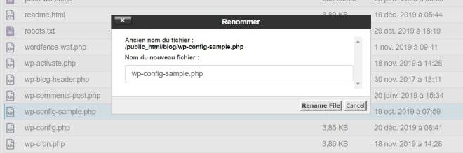 Renommer wp-config-sample