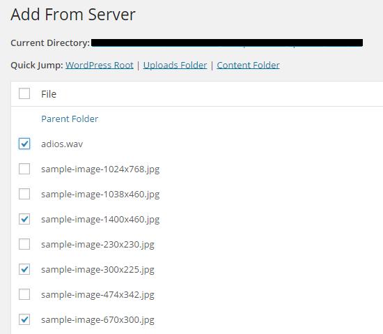 sélectionner des fichiers depuis le serveurs