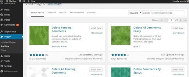 Supprimer les commentaires en attente dans WordPress en utilisant un Plugin