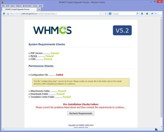 Installation WHMCS étape 2