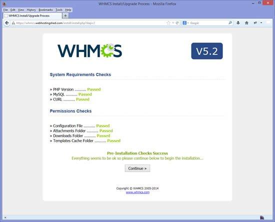 Installation WHMCS étape 3