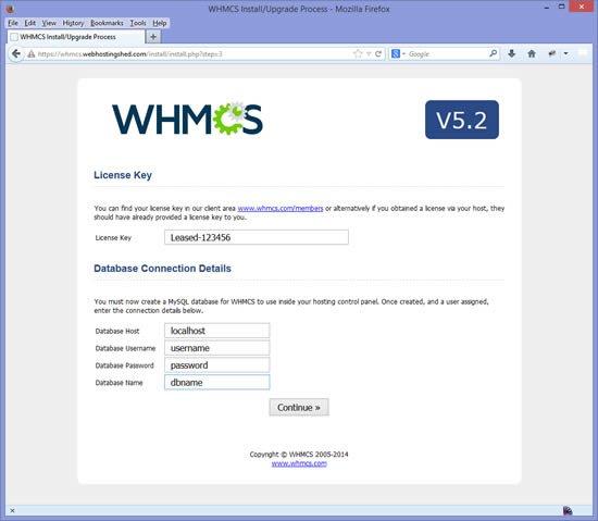 Installation WHMCS étape 4