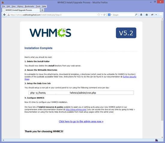 Installation WHMCS étape 5
