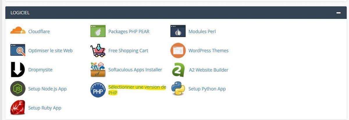 Accéder à PHP depuis cPanel