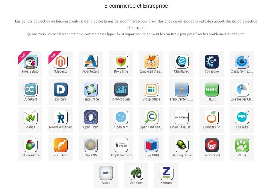 Infomaniak supporte plusieurs script ecommerce