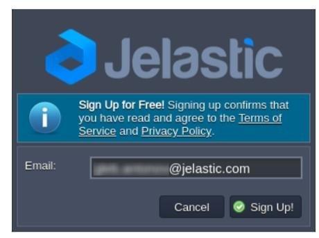 Étape 2 inscription Jelastic: ajout email