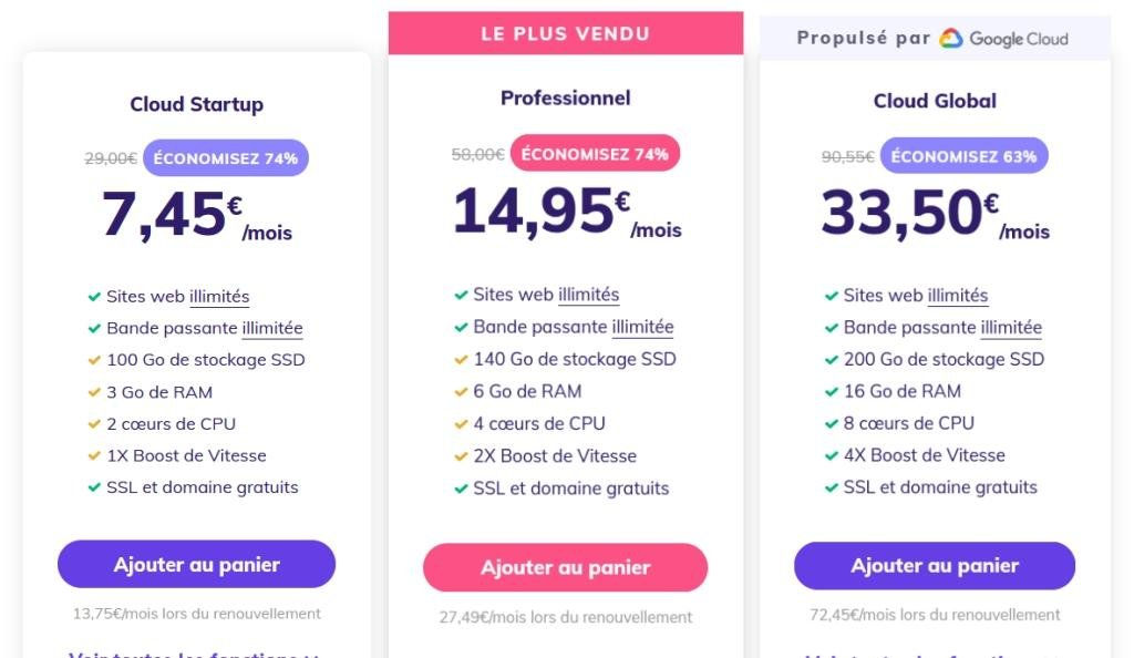 Prix VPS cloud Hostinger
