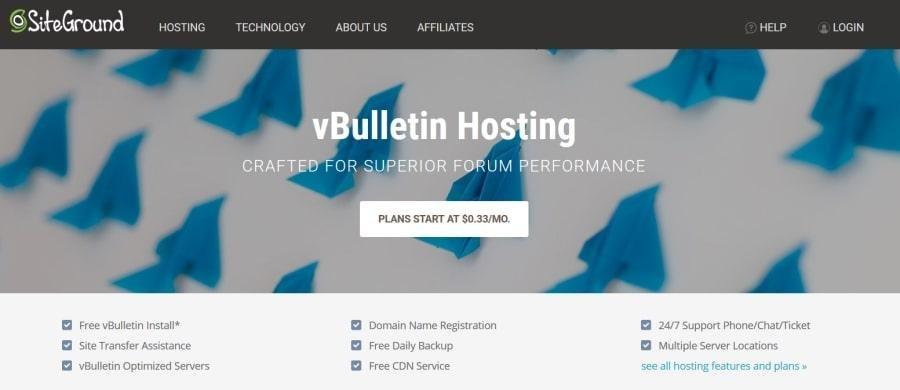 Siteground pour vBulletin